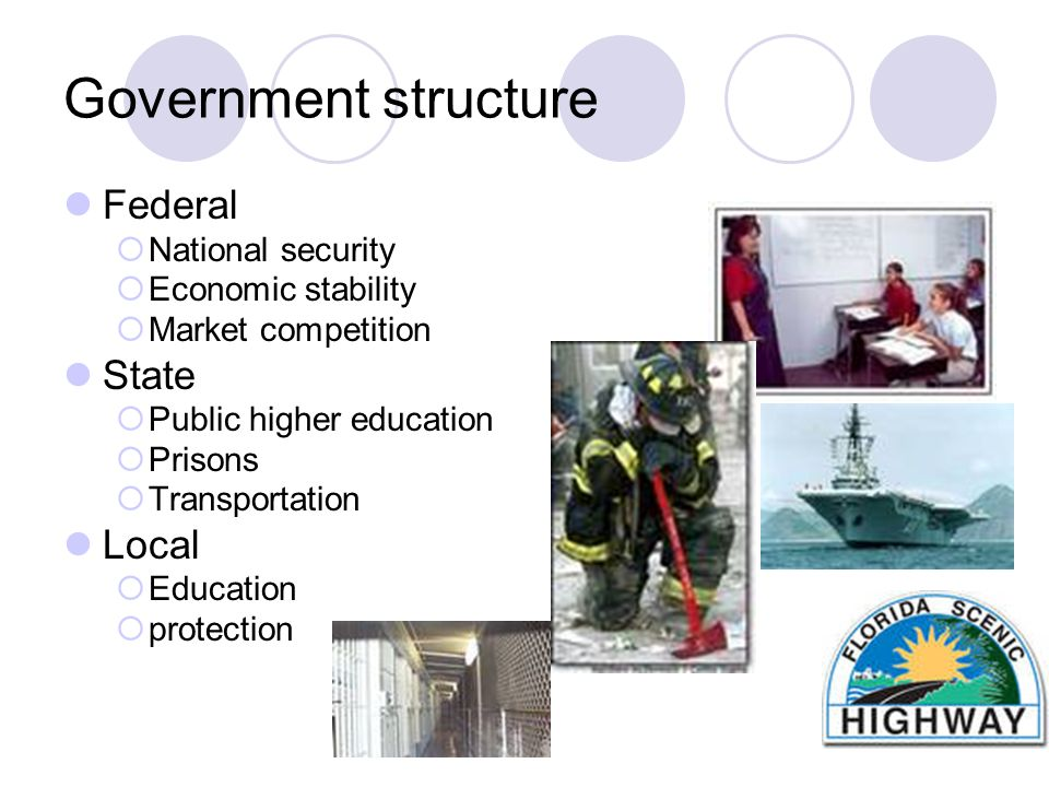 Government structure Federal  National security  Economic stability  Market competition State  Public higher education  Prisons  Transportation Local  Education  protection