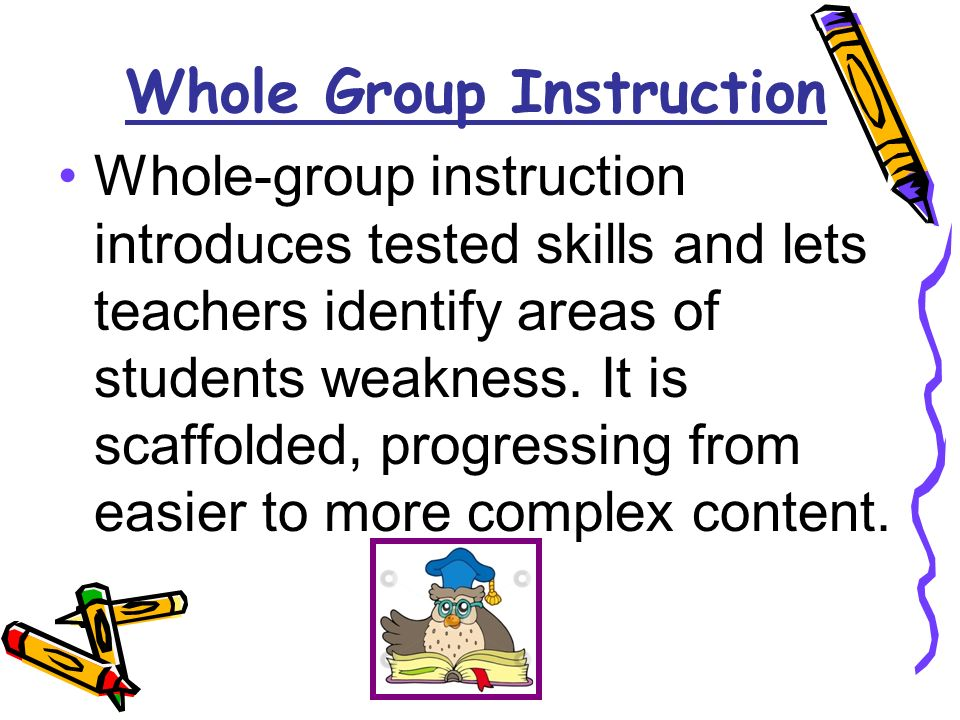 Whole Group Instruction Whole-group instruction introduces tested skills and lets teachers identify areas of students weakness.
