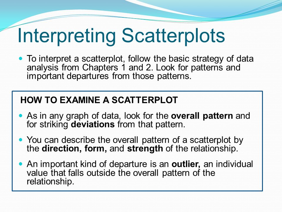 Interpreting Scatterplots To interpret a scatterplot, follow the basic strategy of data analysis from Chapters 1 and 2.