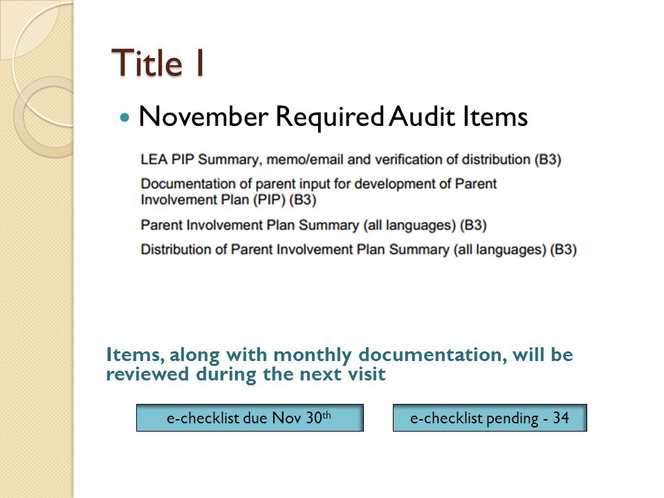 Title I November Required Audit Items Items, along with monthly documentation, will be reviewed during the next visit e-checklist due Nov 30 th e-checklist pending - 34