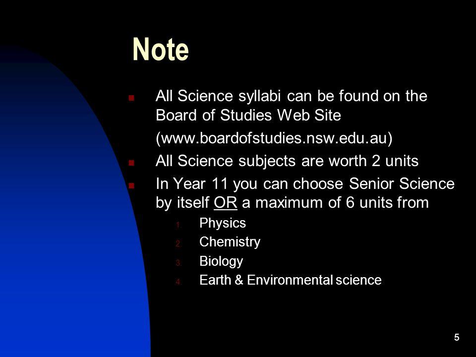 senior science syllabus