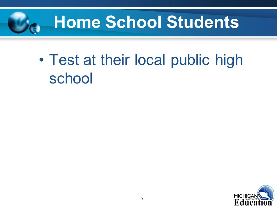 5 Home School Students Test at their local public high school