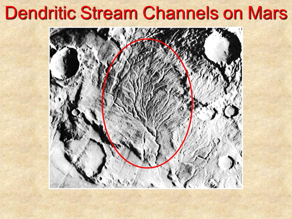 Dendritic Stream Channels on Mars