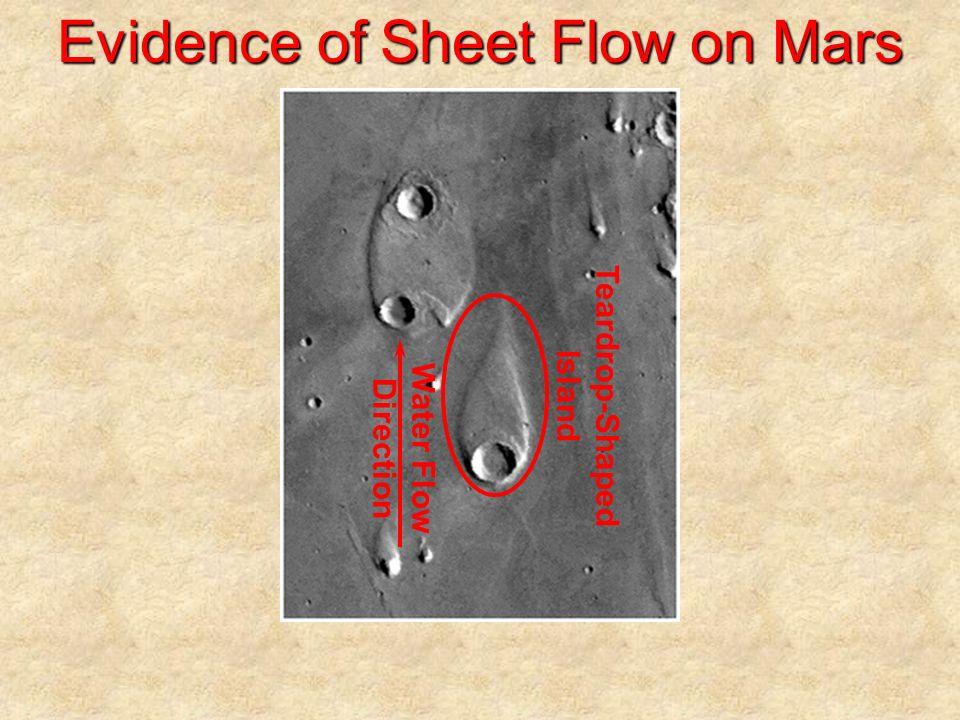 Evidence of Sheet Flow on Mars Water Flow Direction Teardrop-Shaped Island