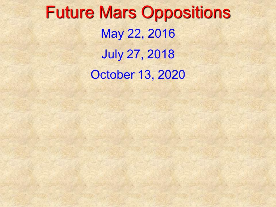 Future Mars Oppositions May 22, 2016 July 27, 2018 October 13, 2020