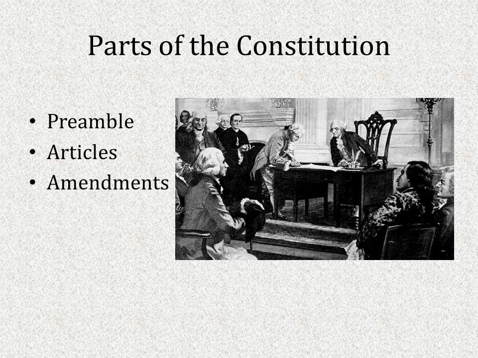 Parts of the Constitution Preamble Articles Amendments