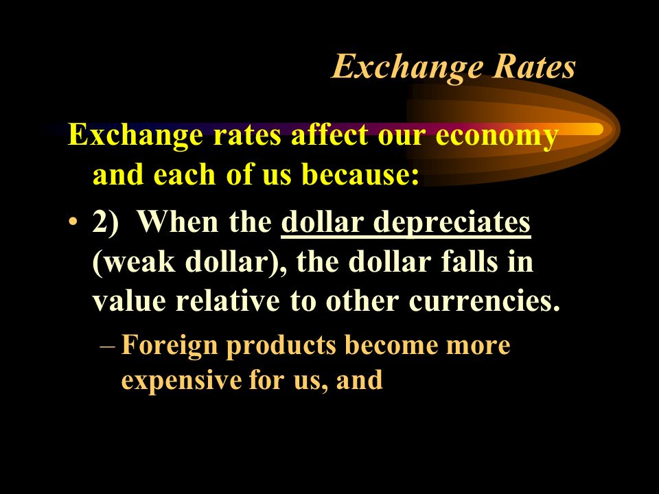 Exchange Rates Exchange rates affect our economy and each of us because: 2) When the dollar depreciates (weak dollar), the dollar falls in value relative to other currencies.