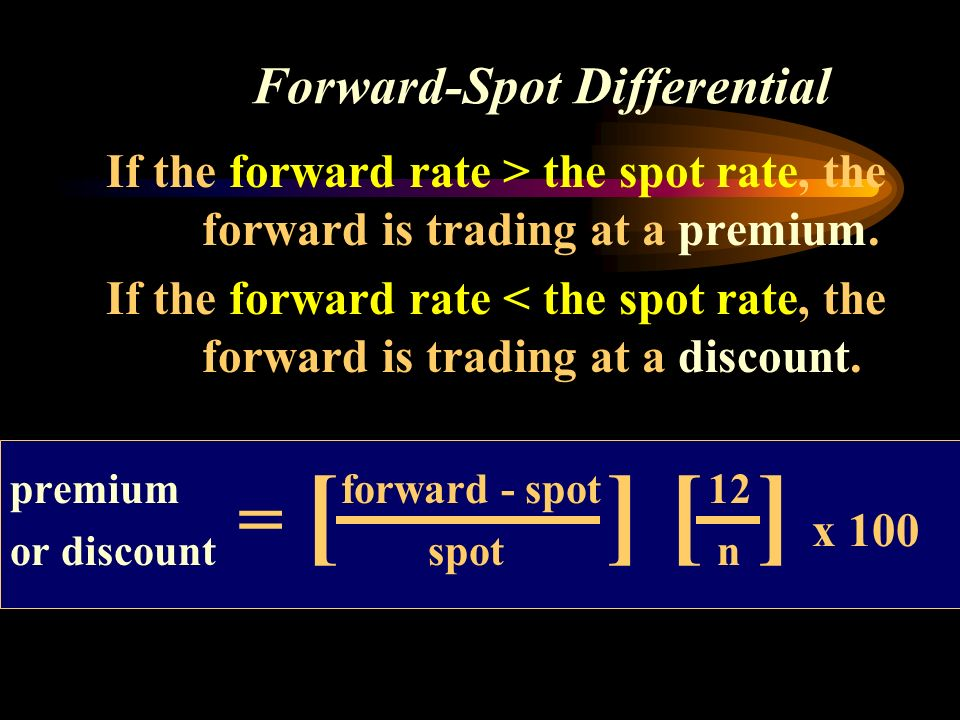 Forward-Spot Differential If the forward rate > the spot rate, the forward is trading at a premium.
