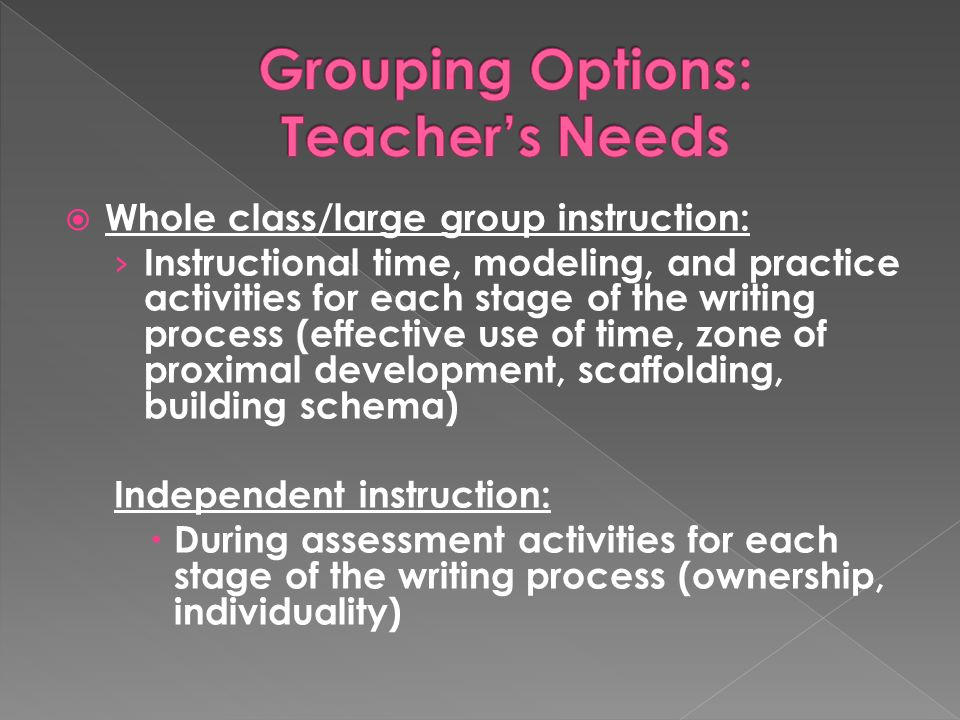  Whole class/large group instruction: › Instructional time, modeling, and practice activities for each stage of the writing process (effective use of time, zone of proximal development, scaffolding, building schema) Independent instruction:  During assessment activities for each stage of the writing process (ownership, individuality)