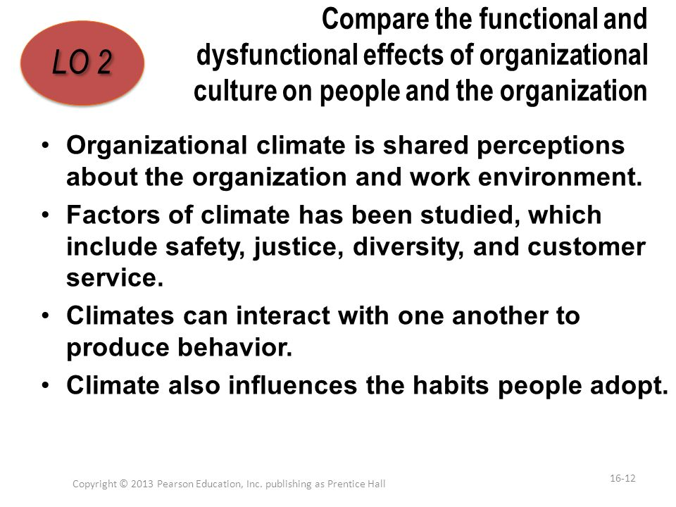 Compare the functional and dysfunctional effects of organizational culture on people and the organization Organizational climate is shared perceptions