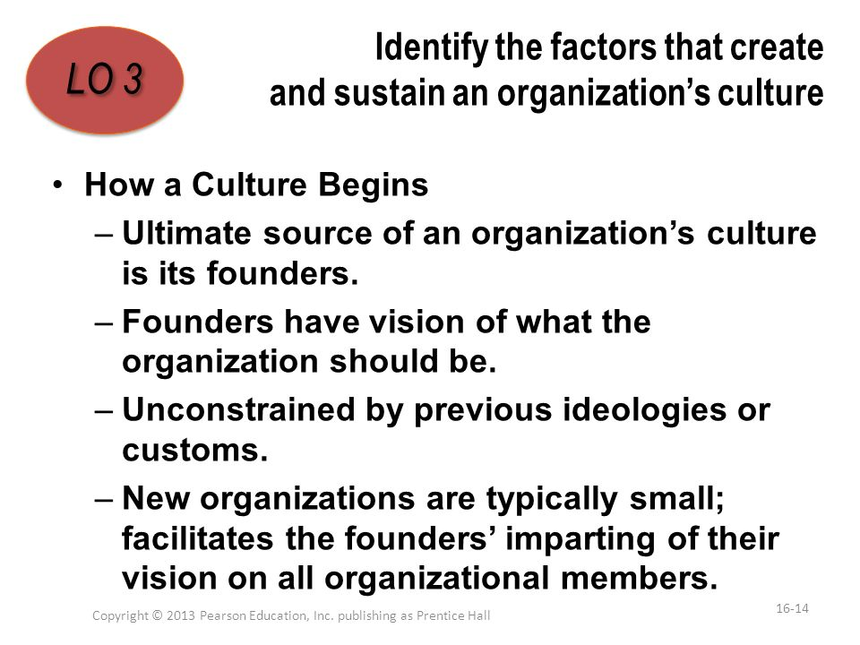 Identify the factors that create and sustain an organization's culture How a Culture Begins –Ultimate source of an organization's culture is its found