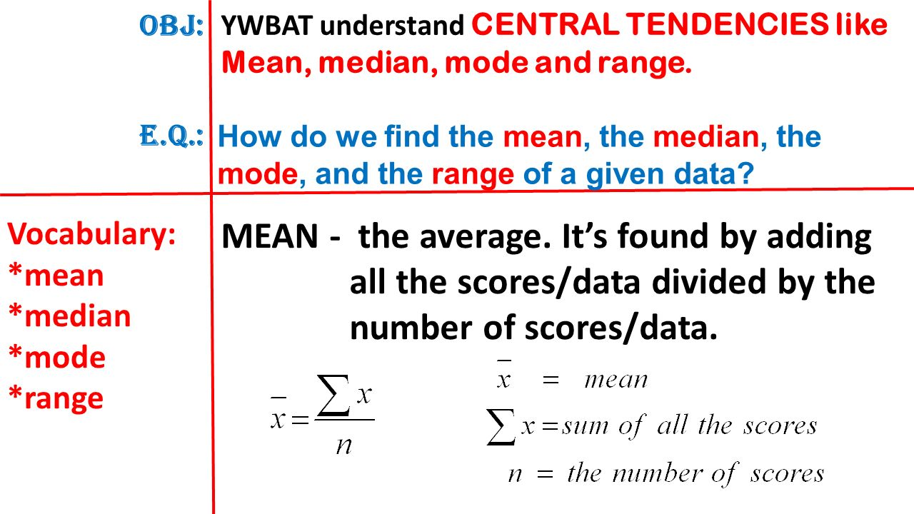 worksheet Mean Median Mode And Range obj e q ywbat understand central tendencies like mean median mode and range
