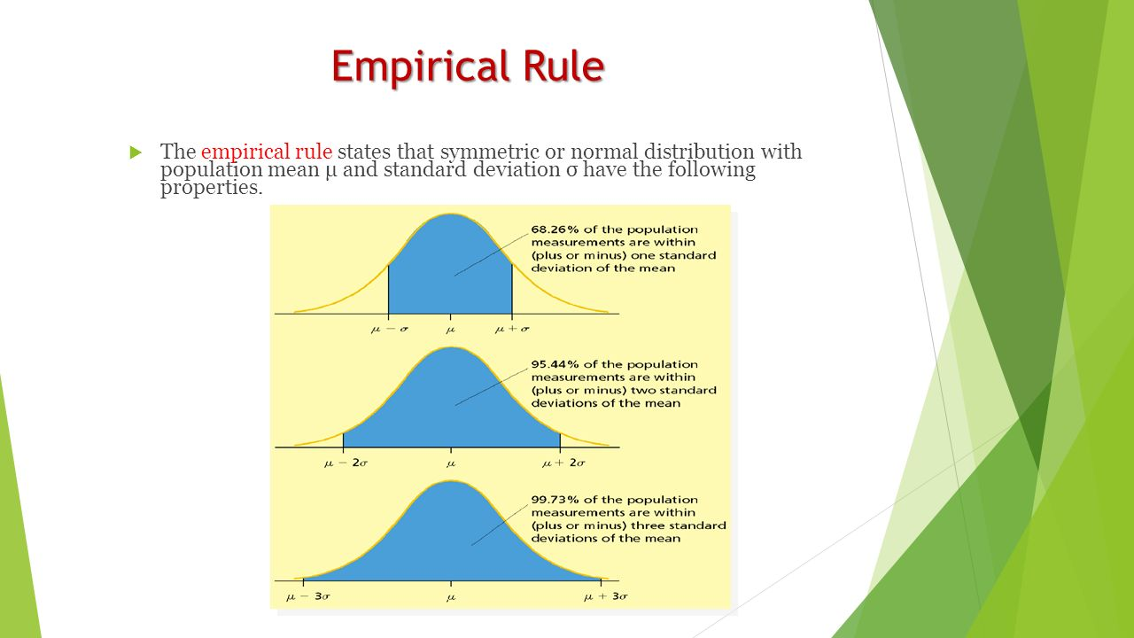 Empirical Rule  The empirical rule states that symmetric or normal distribution with population mean μ and standard deviation σ have the following properties.