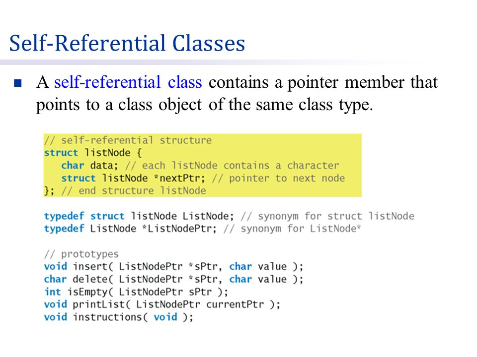 A self-referential class contains a pointer member that points to a class object of the same class type.