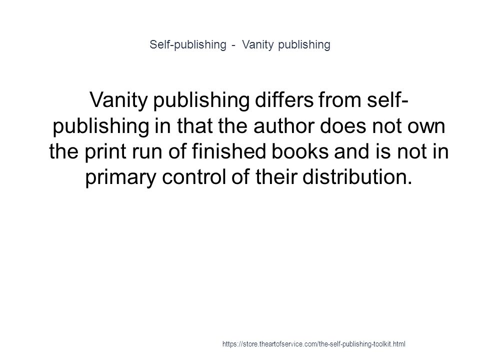 7 Self Publishing   Vanity ...
