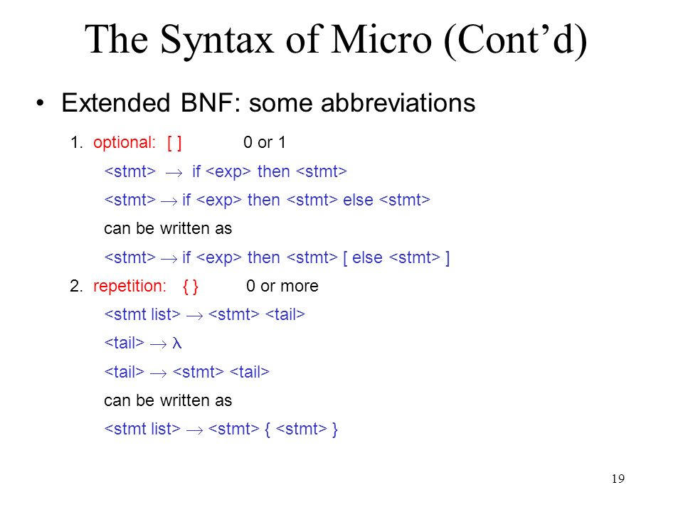19 The Syntax of Micro (Cont'd) Extended BNF: some abbreviations 1.