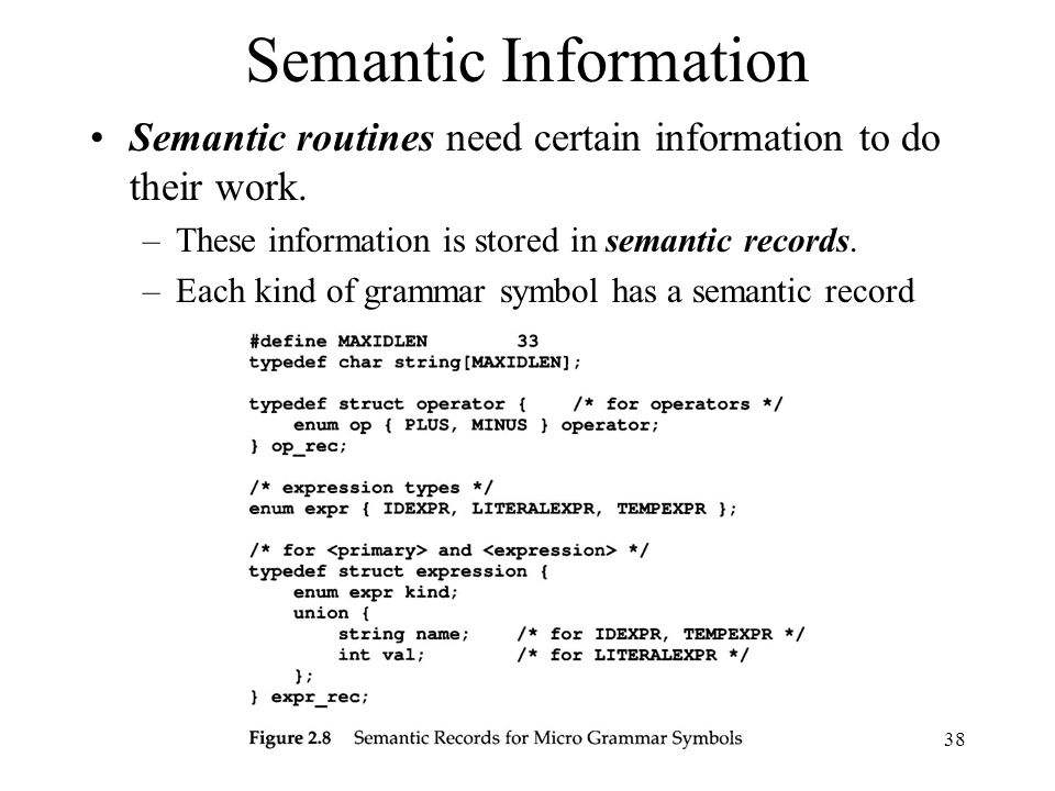 38 Semantic Information Semantic routines need certain information to do their work.