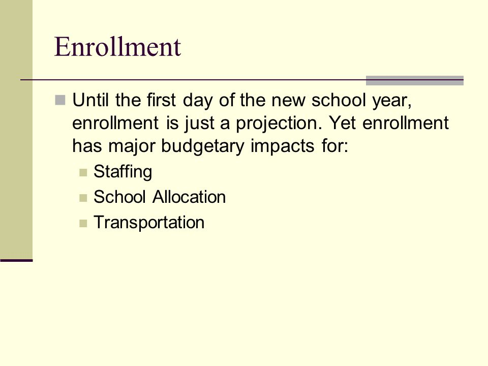 Enrollment Until the first day of the new school year, enrollment is just a projection.