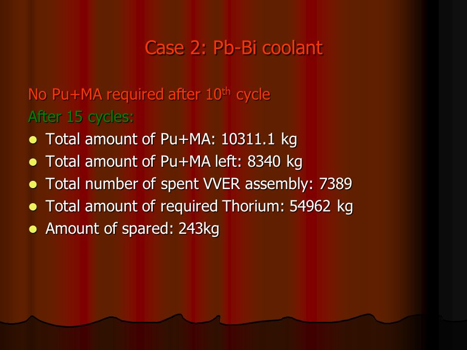 Case 2: Pb-Bi coolant No Pu+MA required after 10 th cycle After 15 cycles: Total amount of Pu+MA: kg Total amount of Pu+MA: kg Total amount of Pu+MA left: 8340 kg Total amount of Pu+MA left: 8340 kg Total number of spent VVER assembly: 7389 Total number of spent VVER assembly: 7389 Total amount of required Thorium: kg Total amount of required Thorium: kg Amount of spared: 243kg Amount of spared: 243kg