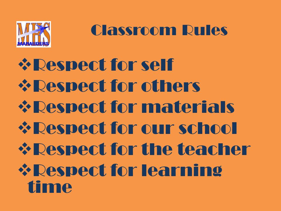 Classroom Rules  Respect for self  Respect for others  Respect for materials  Respect for our school  Respect for the teacher  Respect for learning time