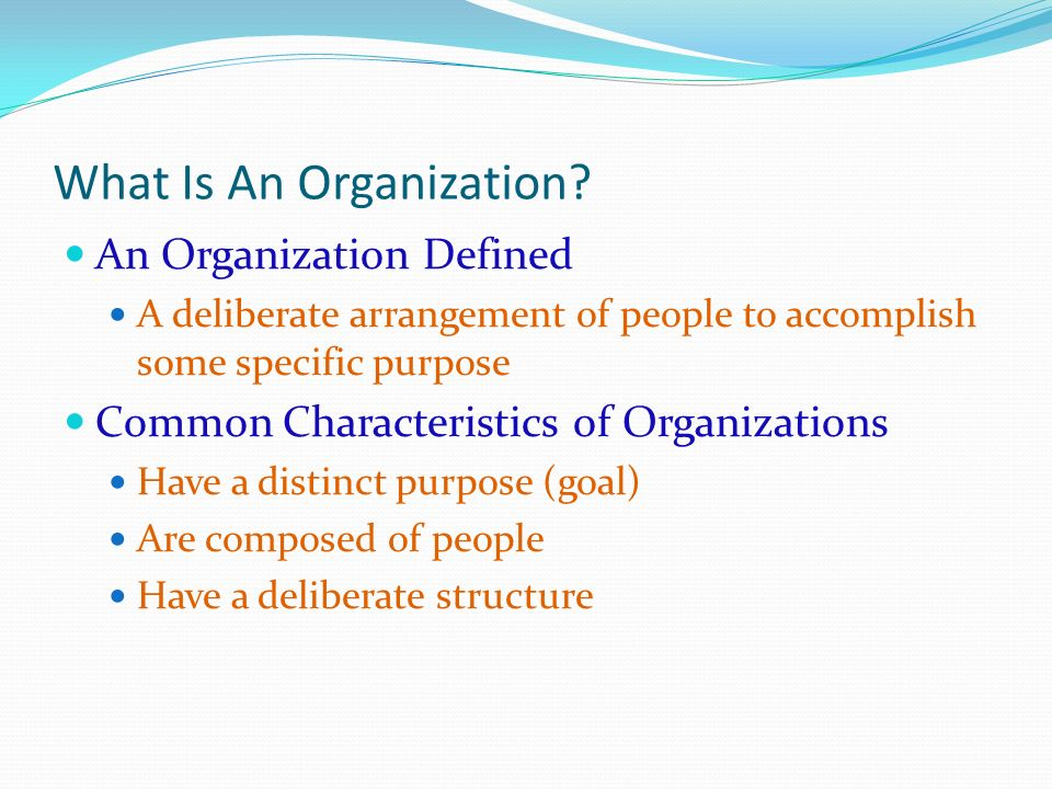What Is An Organization? An Organization Defined A deliberate arrangement of people to accomplish some specific purpose Common Characteristics of Orga