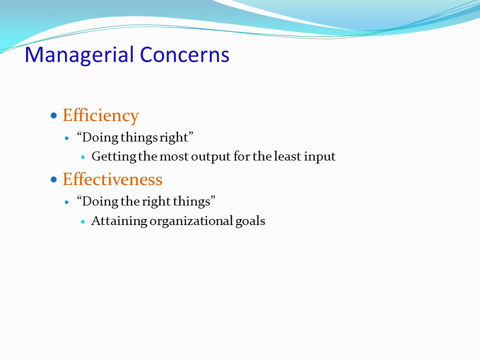 """Managerial Concerns Efficiency """"Doing things right"""" Getting the most output for the least input Effectiveness """"Doing the right things"""" Attaining organ"""