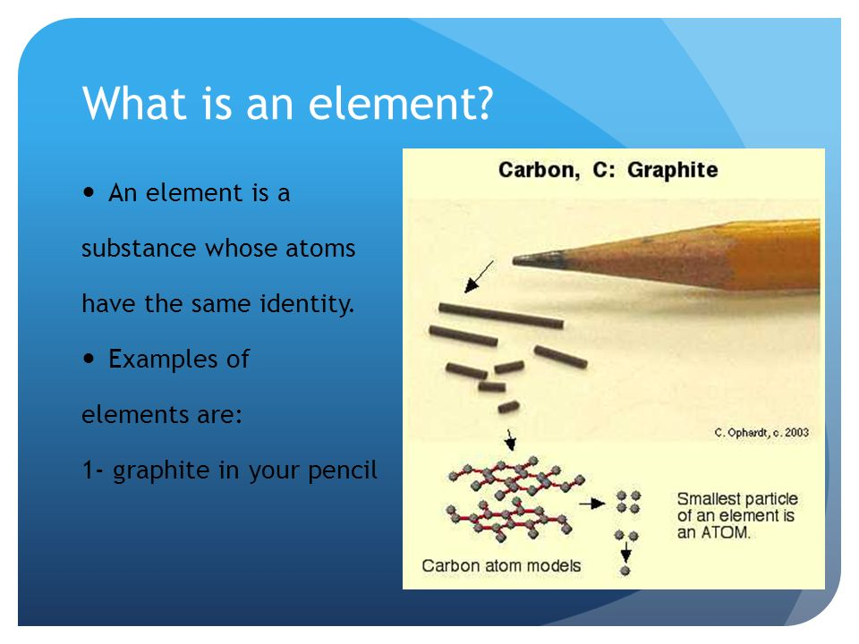 What is an element. An element is a substance whose atoms have the same identity.