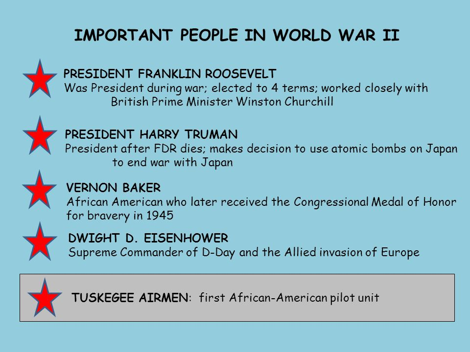 IMPORTANT PEOPLE IN WORLD WAR II PRESIDENT FRANKLIN ROOSEVELT Was President during war; elected to 4 terms; worked closely with British Prime Minister Winston Churchill PRESIDENT HARRY TRUMAN President after FDR dies; makes decision to use atomic bombs on Japan to end war with Japan VERNON BAKER African American who later received the Congressional Medal of Honor for bravery in 1945 DWIGHT D.