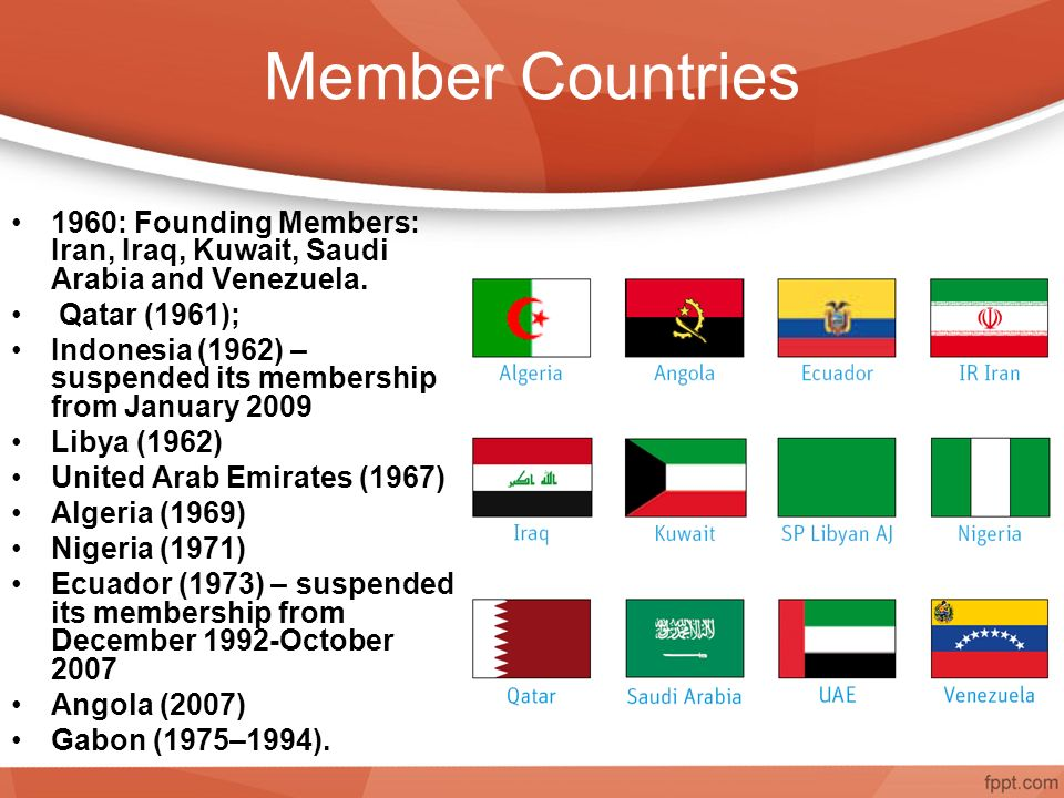 Member Countries 1960: Founding Members: Iran, Iraq, Kuwait, Saudi Arabia and Venezuela.