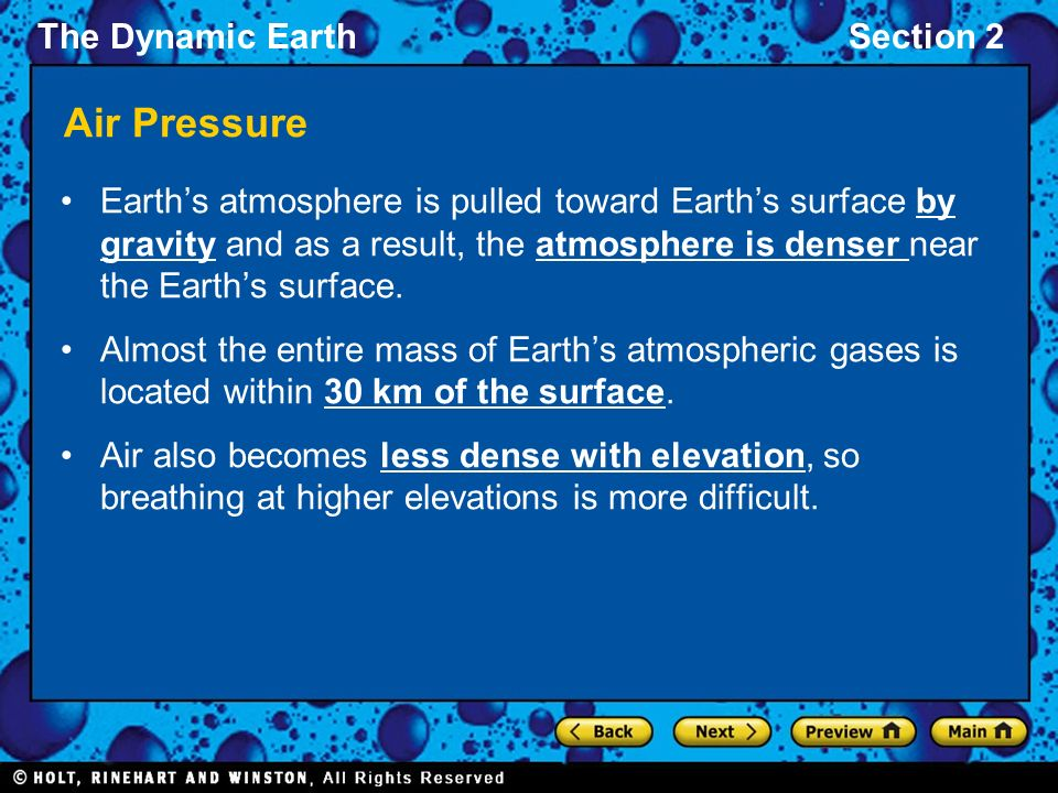 The Dynamic EarthSection 2 Air Pressure Earth's atmosphere is pulled toward Earth's surface by gravity and as a result, the atmosphere is denser near the Earth's surface.