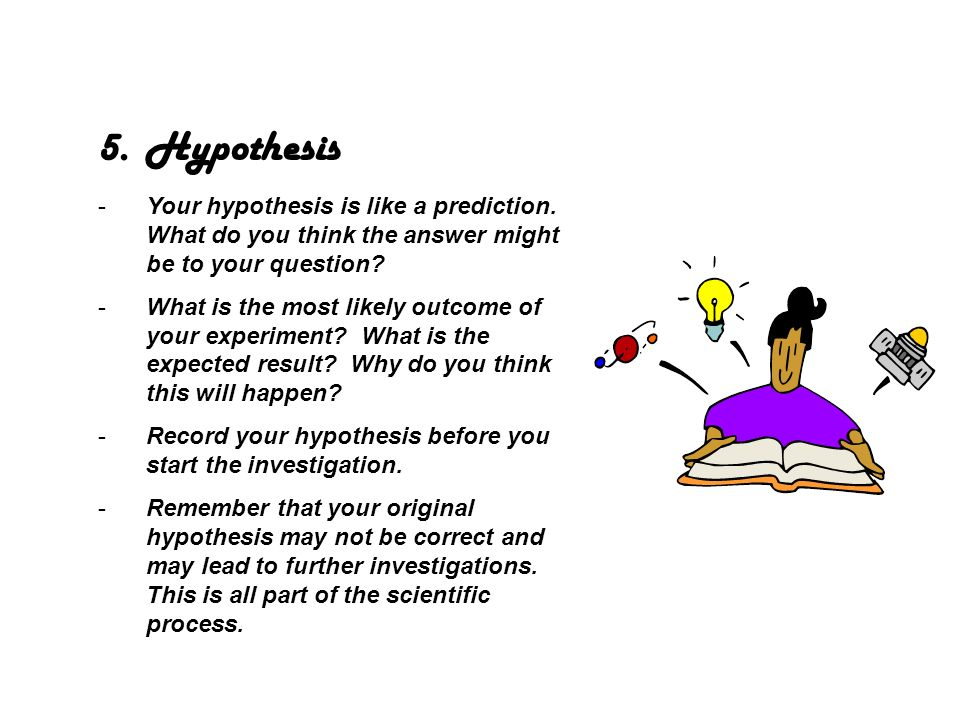 6.Designing your experiment -This is your method for answering your question and testing your hypothesis.
