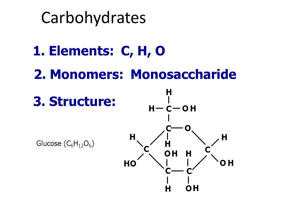 Carbohydrates 1. Elements: C, H, O 2. Monomers: Monosaccharide 3.