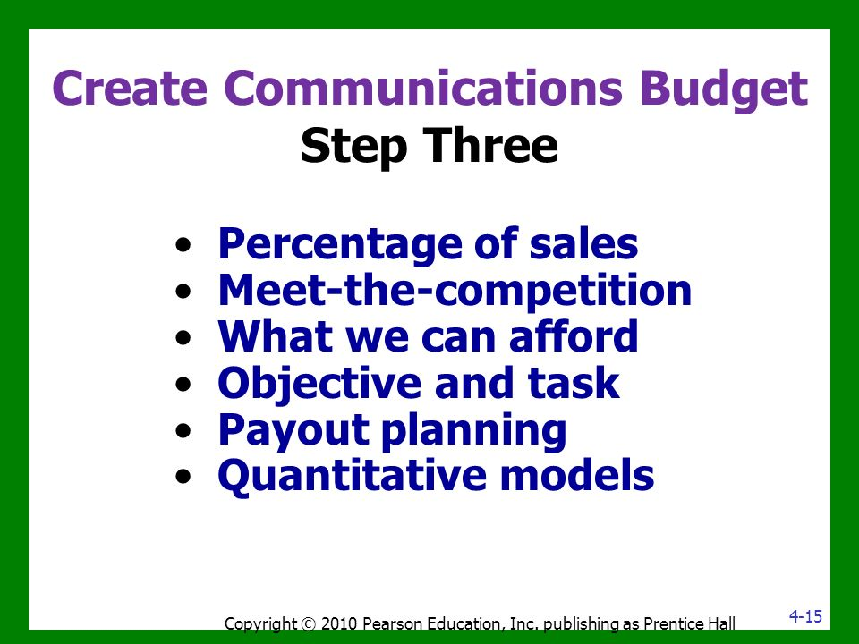 Create Communications Budget Step Three Percentage of sales Meet-the-competition What we can afford Objective and task Payout planning Quantitative models Copyright © 2010 Pearson Education, Inc.