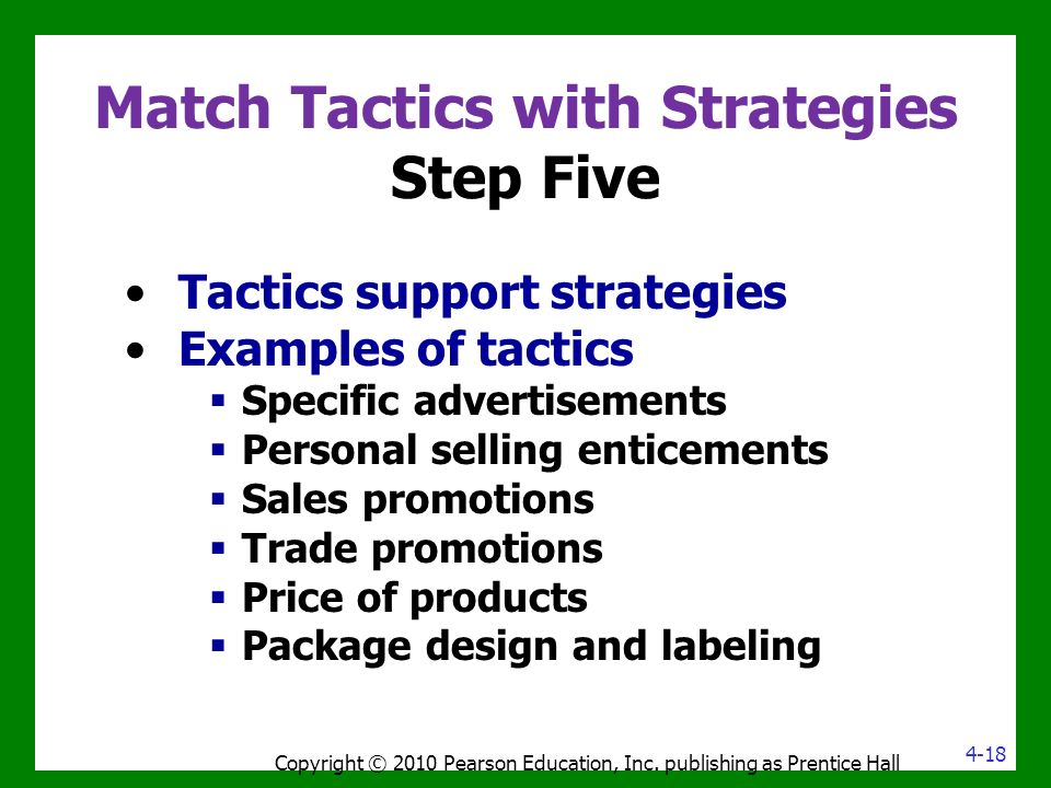 Match Tactics with Strategies Step Five Tactics support strategies Examples of tactics  Specific advertisements  Personal selling enticements  Sales promotions  Trade promotions  Price of products  Package design and labeling Copyright © 2010 Pearson Education, Inc.