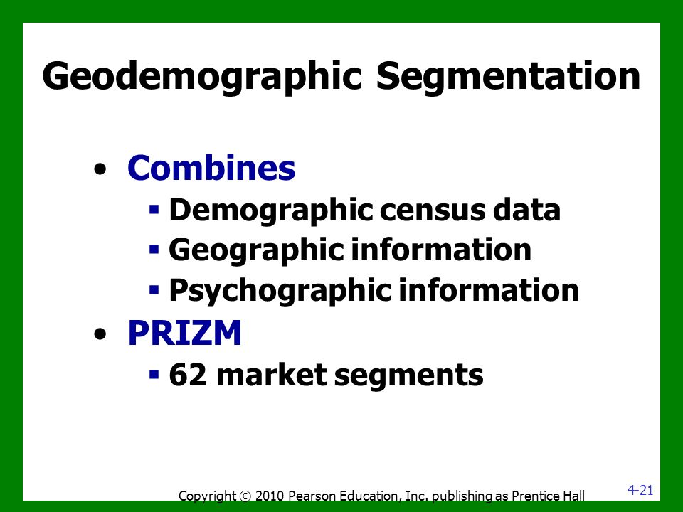 Geodemographic Segmentation Combines  Demographic census data  Geographic information  Psychographic information PRIZM  62 market segments Copyright © 2010 Pearson Education, Inc.