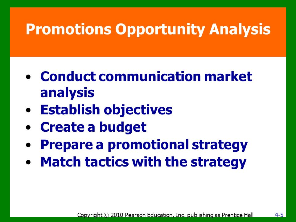 Promotions Opportunity Analysis Conduct communication market analysis Establish objectives Create a budget Prepare a promotional strategy Match tactics with the strategy Copyright © 2010 Pearson Education, Inc.