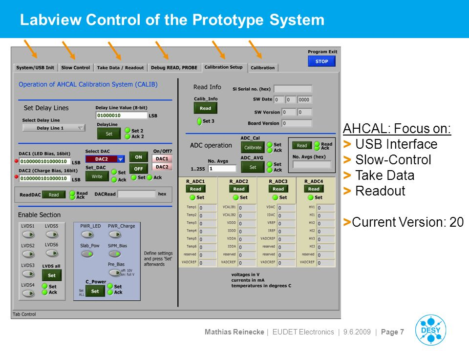 Mathias Reinecke | EUDET Electronics | | Page 7 Labview Control of the Prototype System AHCAL: Focus on: > USB Interface > Slow-Control > Take Data > Readout > Current Version: 20