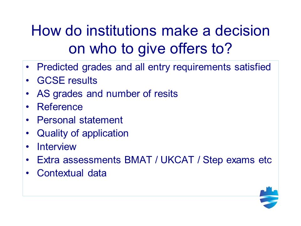 How do institutions make a decision on who to give offers to.