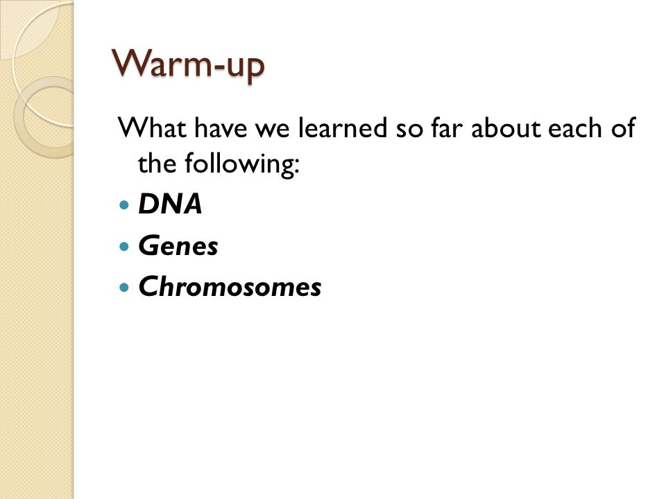 Warm-up What have we learned so far about each of the following: DNA Genes Chromosomes