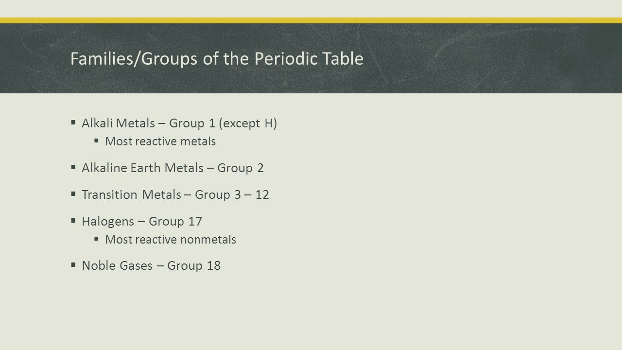 Families/Groups of the Periodic Table  Alkali Metals – Group 1 (except H)  Most reactive metals  Alkaline Earth Metals – Group 2  Transition Metals – Group 3 – 12  Halogens – Group 17  Most reactive nonmetals  Noble Gases – Group 18