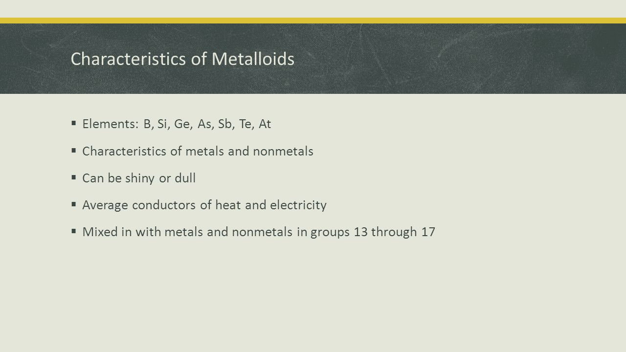 Characteristics of Metalloids  Elements: B, Si, Ge, As, Sb, Te, At  Characteristics of metals and nonmetals  Can be shiny or dull  Average conductors of heat and electricity  Mixed in with metals and nonmetals in groups 13 through 17