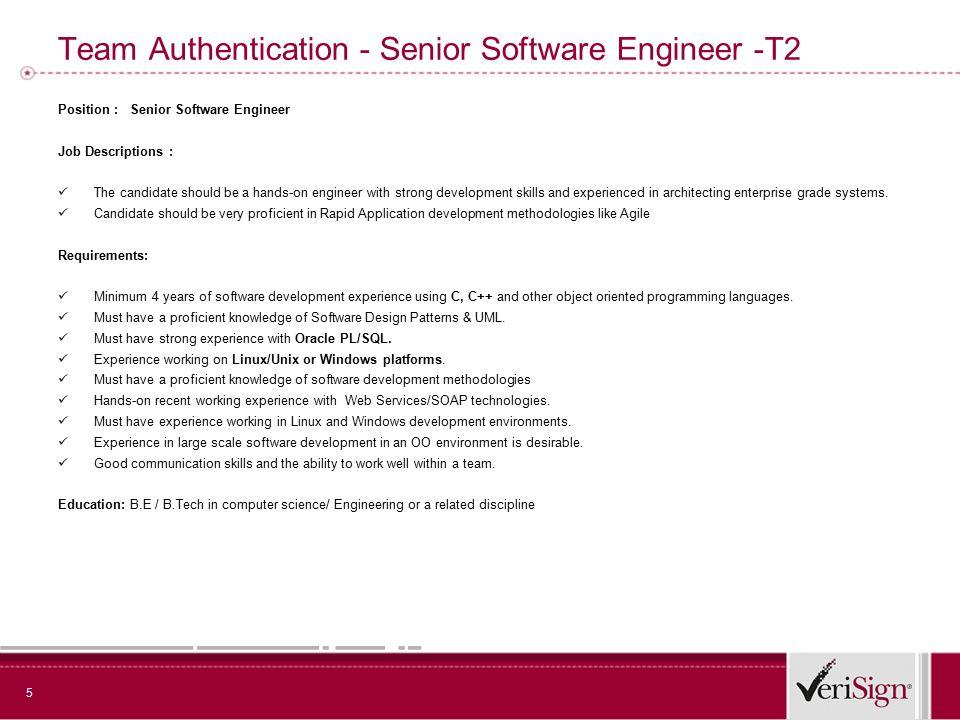 5 team authentication senior software engineer t2 position senior software engineer job descriptions application development - Application Development Job Description