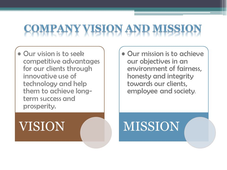 Our vision is to seek competitive advantages for our clients through innovative use of technology and help them to achieve long- term success and prosperity.