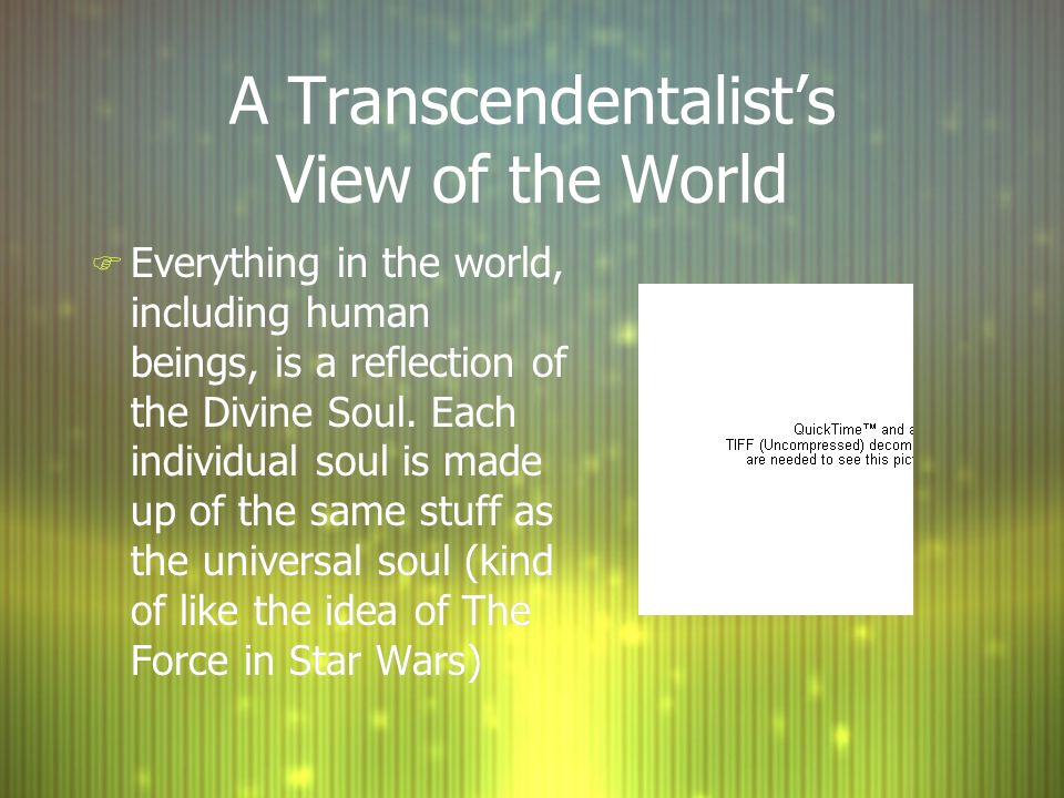 A Transcendentalist's View of the World F Everything in the world, including human beings, is a reflection of the Divine Soul.