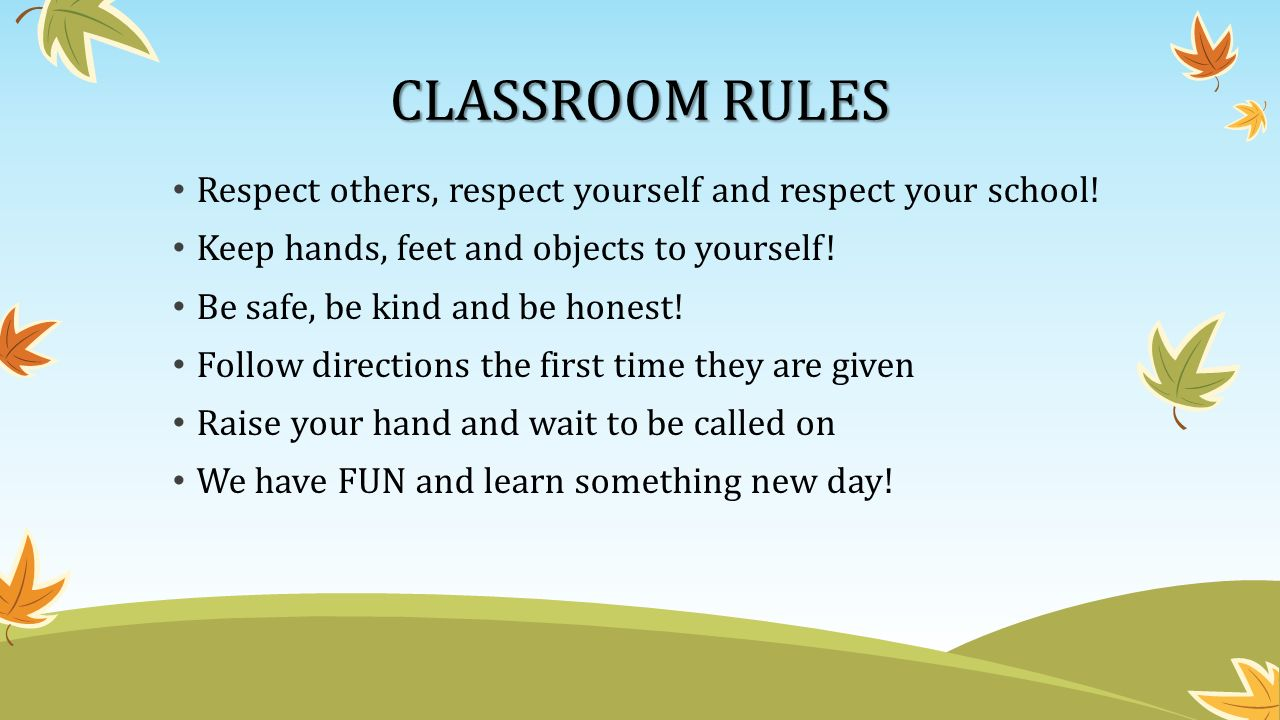 CLASSROOM RULES Respect others, respect yourself and respect your school.