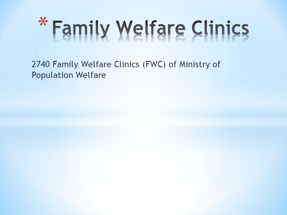 2740 Family Welfare Clinics (FWC) of Ministry of Population Welfare