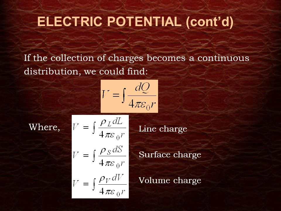 Electric field concepts rules for constructing filed lines a 8 if the collection of charges becomes a continuous distribution we could find where line charge surface charge volume charge electric potential contd ccuart Image collections
