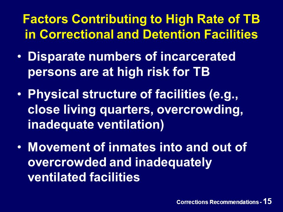 Corrections Recommendations - 15 Factors Contributing to High Rate of TB in Correctional and Detention Facilities Disparate numbers of incarcerated persons are at high risk for TB Physical structure of facilities (e.g., close living quarters, overcrowding, inadequate ventilation) Movement of inmates into and out of overcrowded and inadequately ventilated facilities