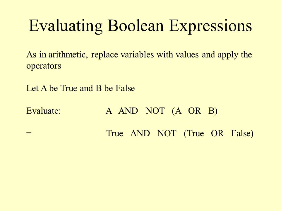 Evaluating Boolean Expressions As in arithmetic, replace variables with values and apply the operators Let A be True and B be False Evaluate: A AND NOT (A OR B) = True AND NOT (True OR False)
