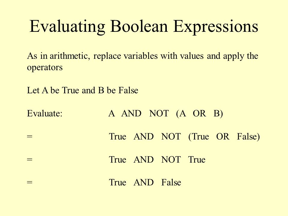 Evaluating Boolean Expressions As in arithmetic, replace variables with values and apply the operators Let A be True and B be False Evaluate: A AND NOT (A OR B) = True AND NOT (True OR False) = True AND NOT True = True AND False